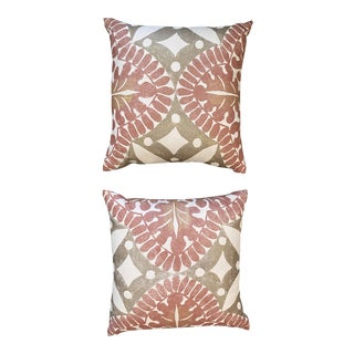 Boho Chic Flower Pillows - a Pair For Sale