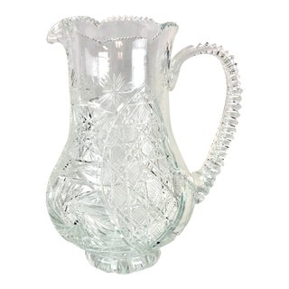 American Brilliant Crystal Pitcher For Sale