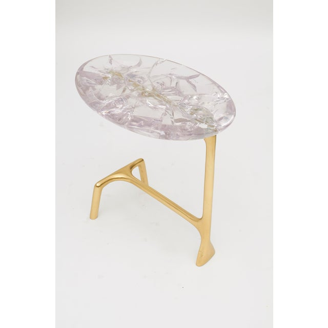 Metal Uovo Side Table (Ice-Cracked Resin) by Sylvan San Francisco For Sale - Image 7 of 8
