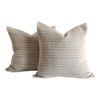 Pure Alpaca and Linen Decorative Accent Pillows in Soft Pale Taupe For Sale