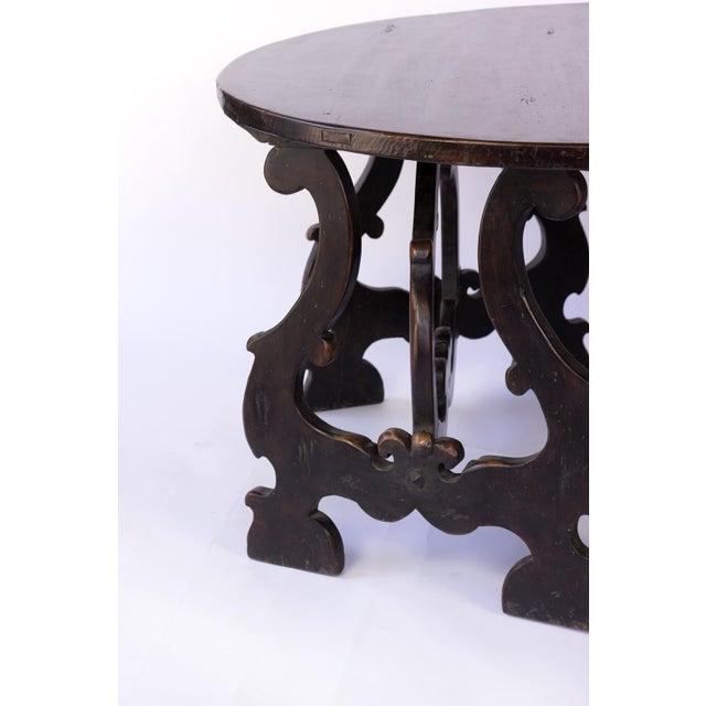 Black Pair of Late 17th Century Spanish Baroque Walnut Demilune Consoles; Spanish, Circa 1680. For Sale - Image 8 of 11