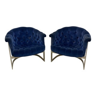 Vintage Milo Baughman Thayer Coggin Cantilever Chrome Tufted Club Chairs Navy Blue - a Pair For Sale