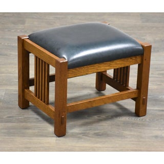Stickley Oak Mission Footstool Ottoman Mid Century Modern Preview