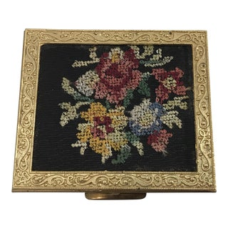 Vintage Needlepoint Top Brass Powder Box For Sale