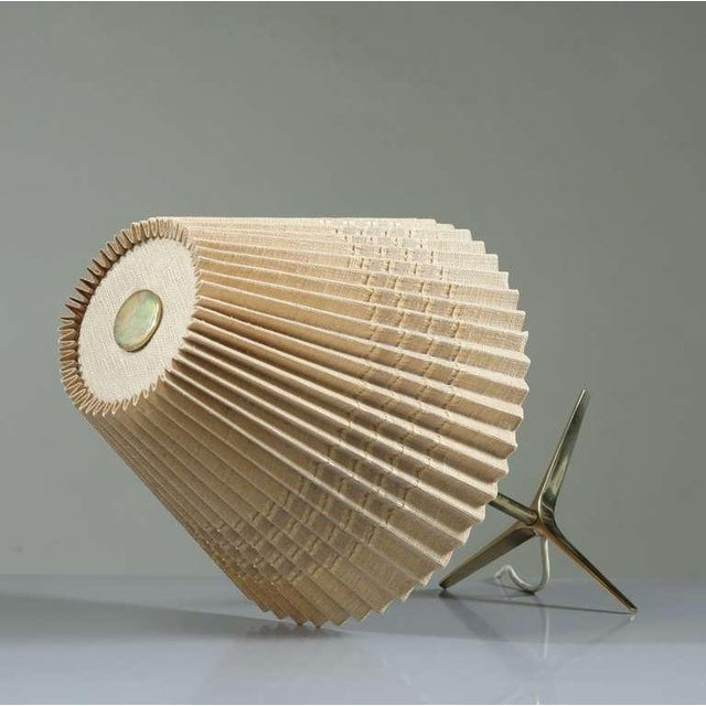 Brass And Wood Table Lamp With Pleated Fabric Shade, 1950s - Image 3 of 5