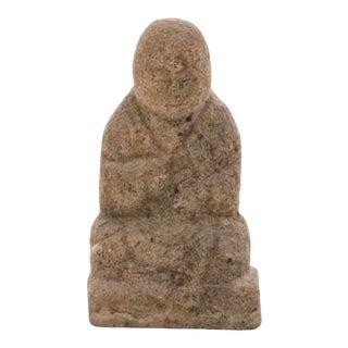 Meiji 19th Century Japanese Granite Buddha Monk Statue Stone Garden Figurine Antique Vintage For Sale