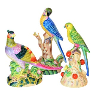 Vintage Chinese Export Exotic Bird Figurines - Set of 3 For Sale