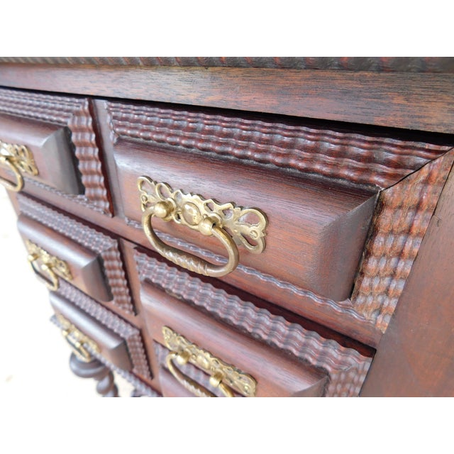 Late 19th Century Antique Spanish Baroque Style Mahogany Nightstand End Table For Sale - Image 5 of 13