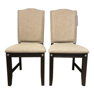 Farmhouse Linen Upholstered Nail Head Dining Chairs - a Pair For Sale