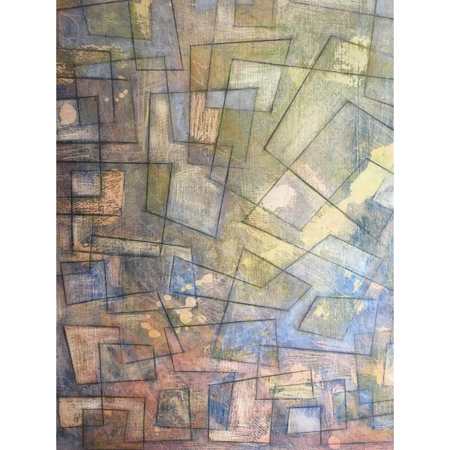 Abstract Colorful Graphite on Canvas For Sale - Image 5 of 6