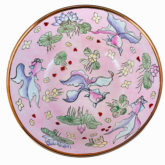 Vintage Chinese Fancy Goldfish Bowl Pink With Gold For Sale In Boston - Image 6 of 6