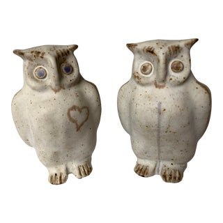 Pottery Owl Sculptures by Bruno Gambone - a Pair For Sale