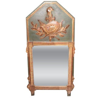 18th Century Antique French Louis XVI Painted and Gilt Wood Mirror For Sale