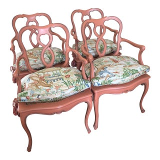 Set of Four Painted Venetian Style Chairs with Chinoiserie Down Cushions For Sale