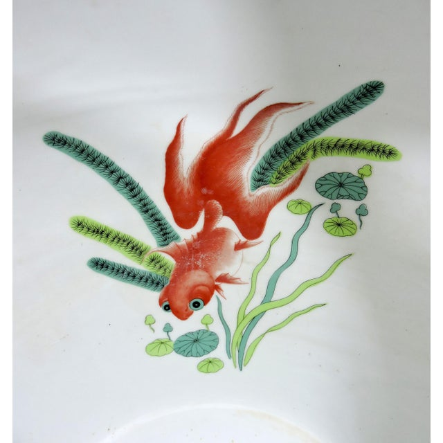 Vintage Porcelain Oriental Hand Painted Gilt Goldfish Bowl - Planter For Sale In Tampa - Image 6 of 10