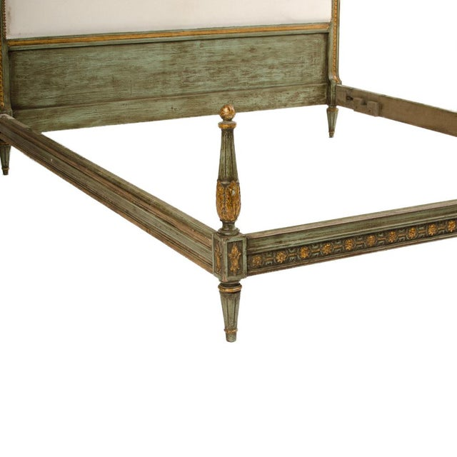 French 1940s French Louis XVI Style Painted Queen Size Bedframe For Sale - Image 3 of 7