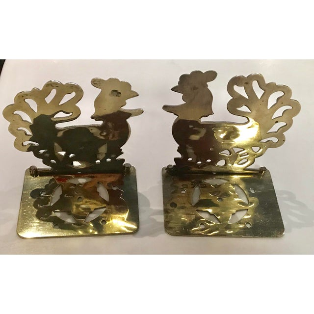Vintage Brass Rooster Bookends - A Pair For Sale - Image 4 of 11