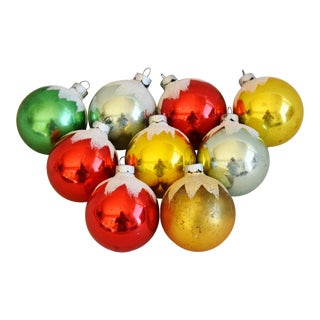 Vintage Colorful Christmas Ornaments W/ Box - Set of 9 For Sale