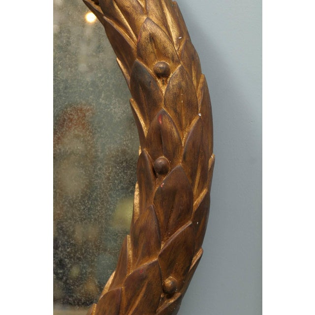 Garland Mirror With Gilded Wooden Frame and Foliage Motif For Sale In Atlanta - Image 6 of 9