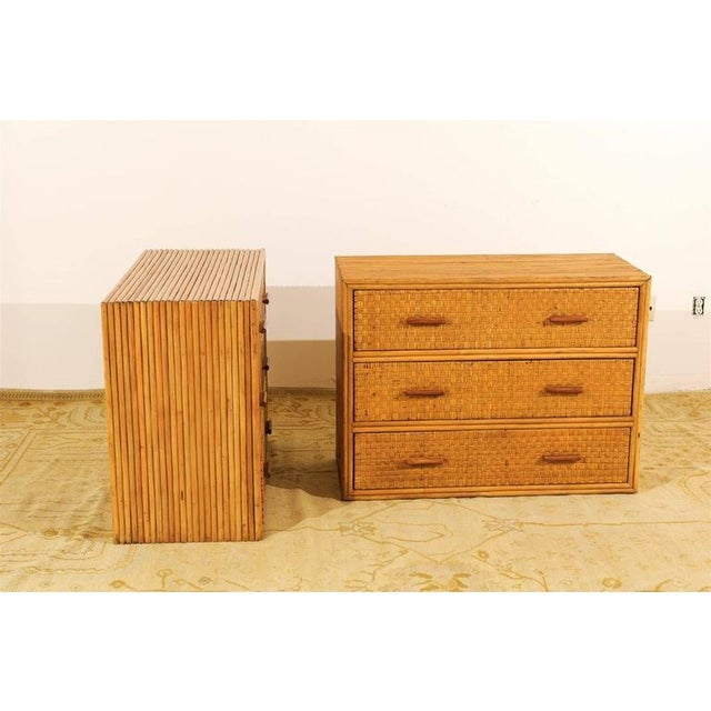 1950s Handsome Pair of Restored Vintage Bamboo and Rattan Chests For Sale - Image 5 of 10