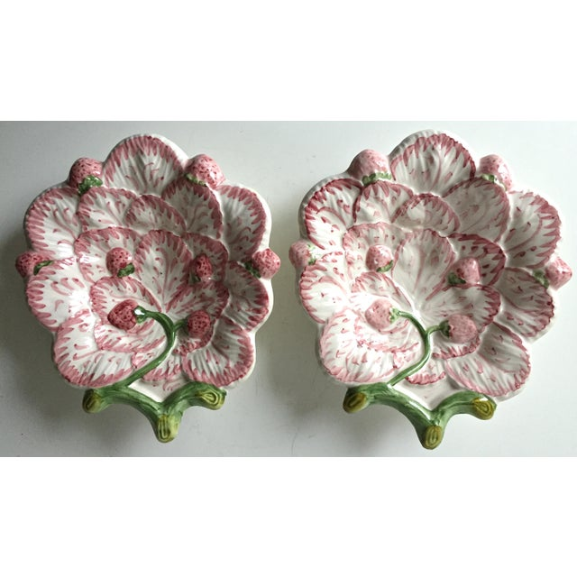 Ceramic Vintage Strawberry Faience Dishes-Neuwirth - a Pair For Sale - Image 7 of 7