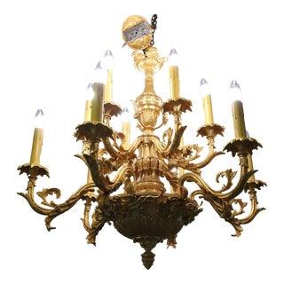 19th Century Louis XVI Gilt Bronze 12 Candle Chandelier For Sale