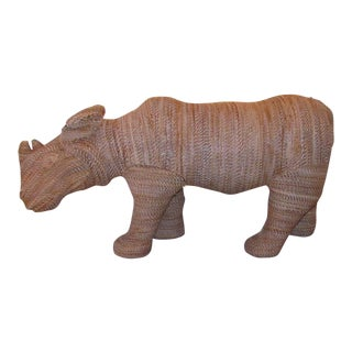 Safari Rhino Brown Rattan Sculpture For Sale