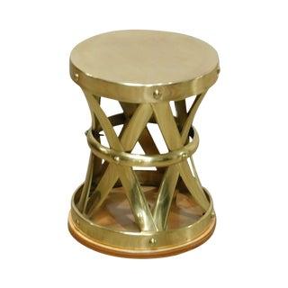 Quality Vintage Brass X-Base Taboret Side Table For Sale