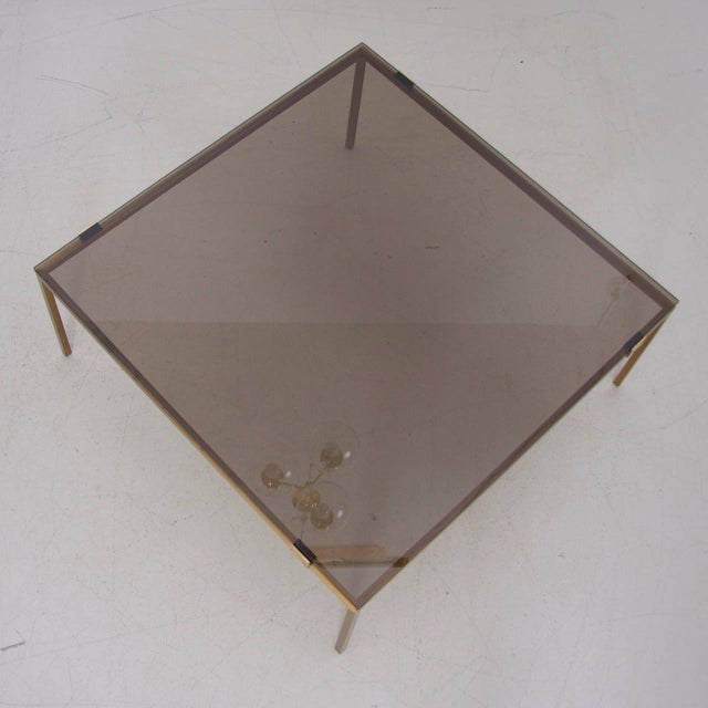 Modern Elegant Brass and Glass Coffee Table in the Manner of Maison Jansen For Sale - Image 3 of 6