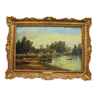 19th Century Antique British School Oil on Canvas Painting For Sale