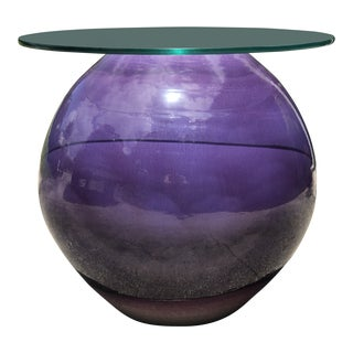 Mark Hines Purple Glazed Hand Thrown Pottery Orb Coffee or Side Table For Sale