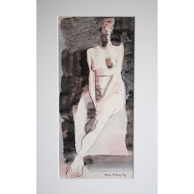Vintage Figurative Watercolor by Mary Finley Fry - Image 5 of 6