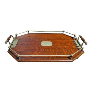 19th Century Traditional Oak Cocktail Tray For Sale
