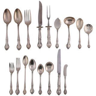 """91 Piece Set Sterling Silver Flatware """"English Gadroon"""" by Gorham, 20th Century For Sale"""