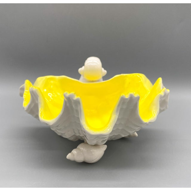 1970s Vintage Fitz and Floyd Yellow and White Shell Bowl For Sale In Houston - Image 6 of 12