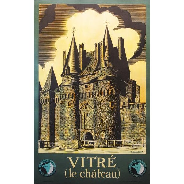 Mid-Century Modern 1940's Original French Travel Poster - Vitré (Le Château) For Sale - Image 3 of 3