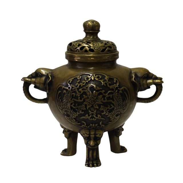 Chinese Oriental Fine Bronze Metal Incense Burner Display For Sale