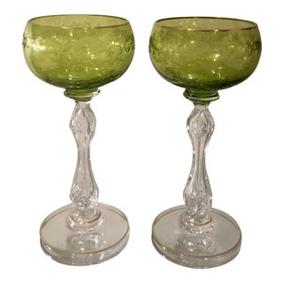 Pair of Antique St. Louis French Crystal Hock Wine Stems - Chartreuse For Sale