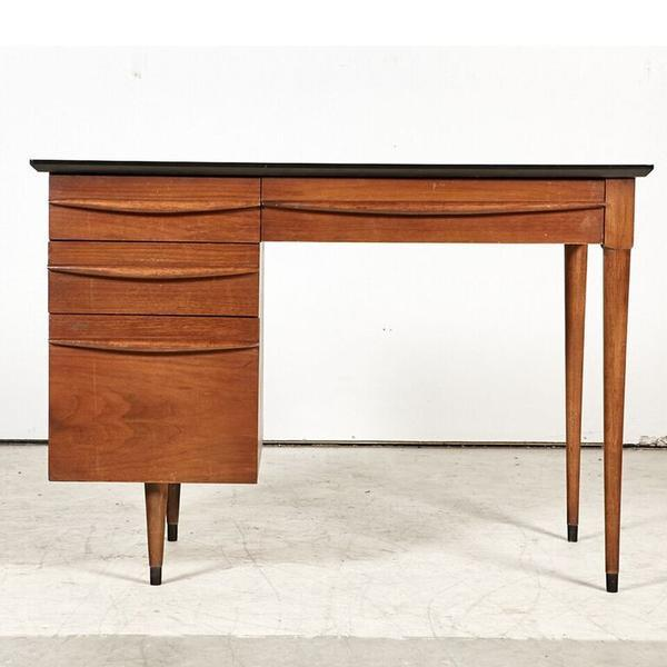 Danish Style Mid Century Desk in Teak with Black Lacquered Top by Flanders. Stamped, Circa 1960.