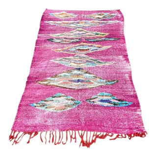 1980s Pink Moroccan Kilim Rug- 4′11″ × 7′10″ For Sale