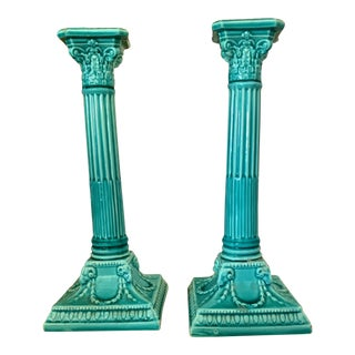 19th Century Majolica Candle Holders France - a Pair For Sale