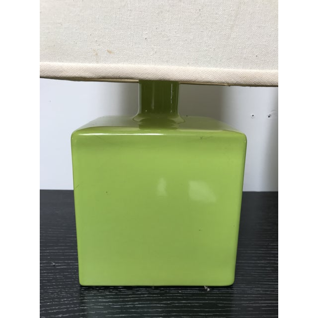 Mid Century Chartreuse Green Glaze Ceramic Table Lamps - a Pair For Sale - Image 4 of 13