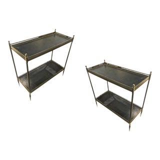 Maison Jansen 1940s Pair of Two-Tier Side Table With Black Leather Patinated Top For Sale
