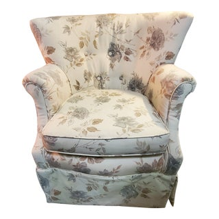 1930s Curved Reupholstered Arm Chair For Sale