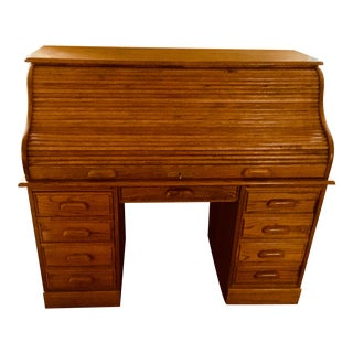 Solid Oak Roll Top Desk For Sale