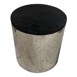 Brueton Polished Steel & Black Marble Top Drum Table