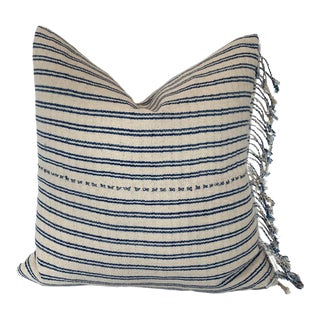 Vintage Blue and Ivory Striped Pillow With Fringe For Sale