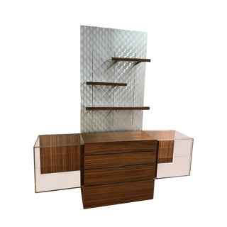 Custom Vladimir Kagan Lucite and Zebra Wood Console With Silver Light Up Shelving For Sale