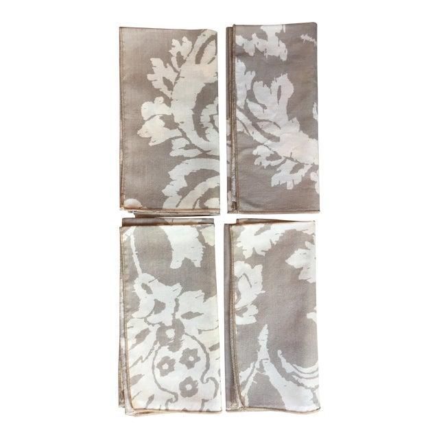 Vintage Taupe Ikat Napkins - Set of 4 - Image 1 of 7