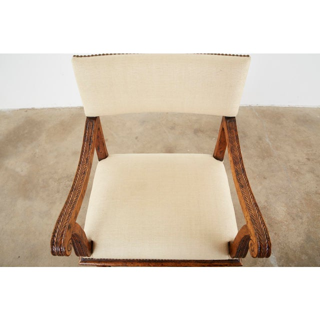 Late 20th Century English Gothic Revival Wainscot Style Carved Hall Chair For Sale - Image 5 of 13